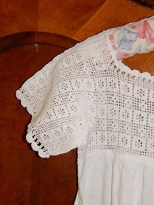VICTORIAN EDWARDIAN~ Vintage Cotton Muslin Nightgown~Crocheted Top, c. 1910~S