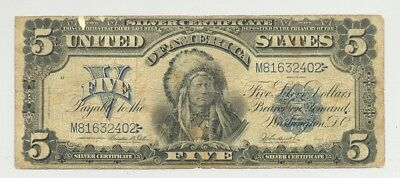 $5 Series 1899 Chief Silver Certificate nice looking and popular type