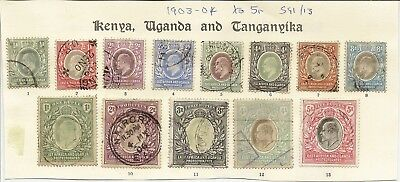 Kut East Africa & Uganda 1903-04 To 5R Sg1/13 Fiscal Cancels/used Cat £1400