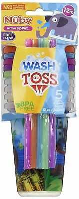 Nuby 5 Wash or Toss Cups Tumbler With Lids Straws Sippy Baby Toddler Kids 10 Oz