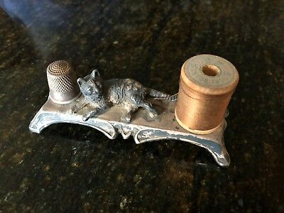 Antique Metal Sewing Holder,Child size thimble holder and thread holder