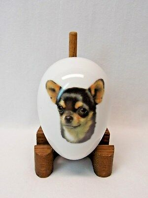 Black & Tan Chihuahua Dog Fired Head Decal on Easter Egg 3 x 2 inches Porcelain