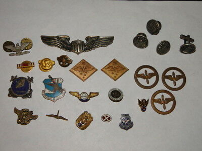 Lot of Vintage Military Pins emblems cuff links Etc.
