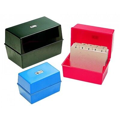 NEW CARD RECORD INDEX BOX BOXES PLASTIC 5x3, 6x4, 8x5 SIZES BLACK / BLUE / RED
