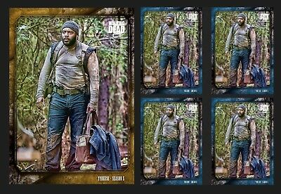 TYREESE WILLIAMS-UNSUNG HEROES-WAVE 3-GOLD+4x BLUE-TOPPS WALKING DEAD TRADER