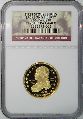 2008 W 07 Jackson's Liberty $10 First Spouse 1/2 oz 24-karat Gold NGC PF70 PF-70