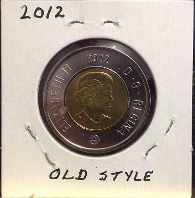2012 - Twoonie - Old Style - From Mint Roll - Free Canadian Shipping