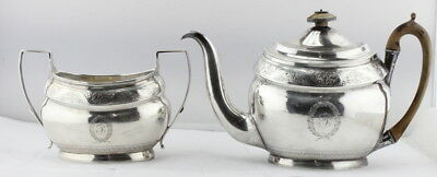 ANTIQUE LONDON ENGLAND STERLING SILVER ALEXANDER FIELD TEA POT & SUGAR c.1802