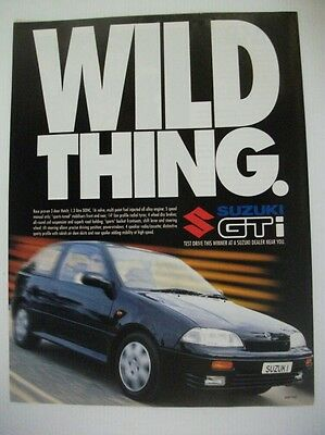 1994 SUZUKI SWIFT GTi WILD THING AUSTRALIAN MAGAZINE FULLPAGE ADVERTISEMENT