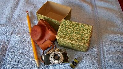 Vintage Mini 'HIT' Spy Camera w/ Original Leather Case, Box and Panchro Film