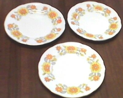 "3 Sutherland 6"" Small Bone China Side Plates - Yellow Floral Design-Very Pretty"