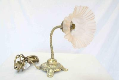Vintage Brass Lamp Gold Dusty Pink Flower #13741
