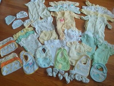Baby Gender Neutral Clothes Bibs Socks 48 pc  lot Boy Girl Newborn 0 3 months