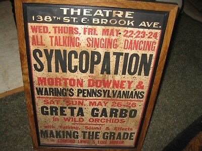 "1920'S Theatre Lobby Card Features Greta Garbo Syncopation Wood Frame 14"" x 19"""