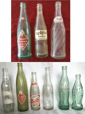 LOT OF 9! 8 Antique VTG 50-60s Soda Pop Bottles Plus 1 Coke Bottle from Japan
