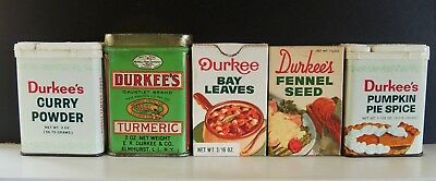 Lot of 5 Vintage Durkee Spices
