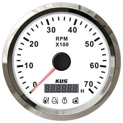Marine Boat Tachourmeter RPM and Hour Meter Stainless Bezel White Face