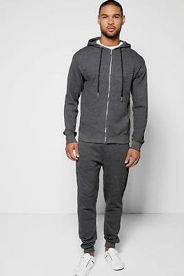 NEW Boohoo Mens Cotton Pique Zip Through Tracksuit in Charcoal size Xl