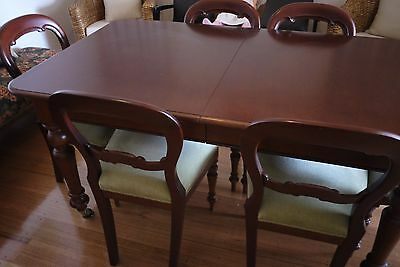 antique original extension dining table and 6 chairs