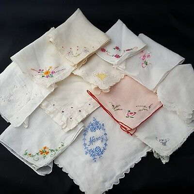 vintage handkerchiefs hankies hankys lot of 12 floral embroidered retro ladies