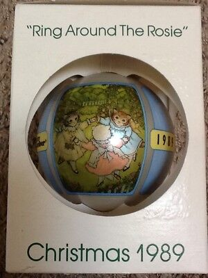 """Schmid Glass Ball Christmas Ornament """"Ring Around The Rosie"""" - 1989"""