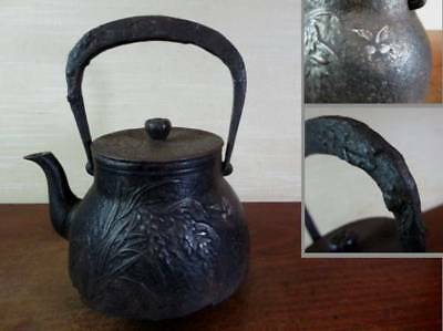Japanese Antique KANJI old Iron Tea Kettle Tetsubin teapot Chagama 2331
