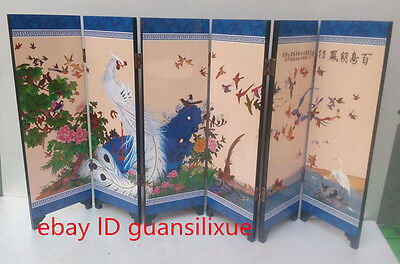 Delicate Chinese lacquer painting by hand *100 birds *decorated five-star screen