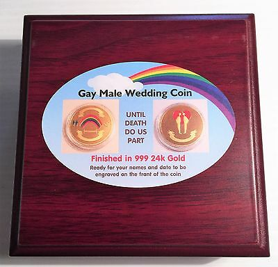 NEW: GAY MALE 1 oz Wedding Celeb colour coin 999 24k Gold Plated in Display Box