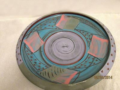 """Vintage Centerpiece Art Pottery Studio Charger by Alan Willoughby  15"""" Platter"""