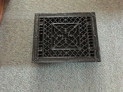 ANTIQUE Floor GRILLE CAST IRON VICTORIAN 10x8 LOUVERS Grate HEAT REGISTER NICE