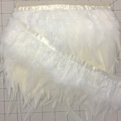 White Rooster Feather Satin Ribbon Trim 50cm DIY Craft Costume Sewing Millinery