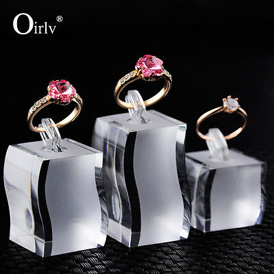 3Pcs Acrylic Ring Finger Holder Jewelry Display Stand for Counter Showcase