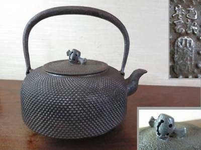 Japanese Antique KANJI old Iron Tea Kettle Tetsubin teapot Chagama 2341