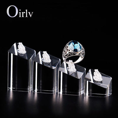 4Pcs Acrylic Jewelry Display Stand Ring Finger Holder Shelf Rack for Counter