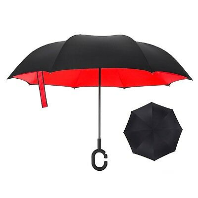 Inside Out Double Layer Reverse/Inverted Umbrella Windproof UV Protect Black Red