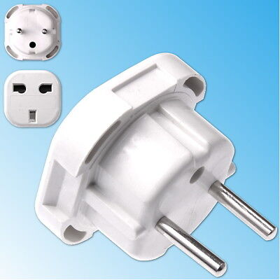 Adaptateur de Voyage Prise Anglaise Angleterre UK vers France EU Europe Blanc