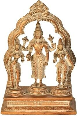 "Lord Vishnu Shridevi Bhudevi On Arch Ji God Statue 10.2""Vintage Brass Figure 3KG"