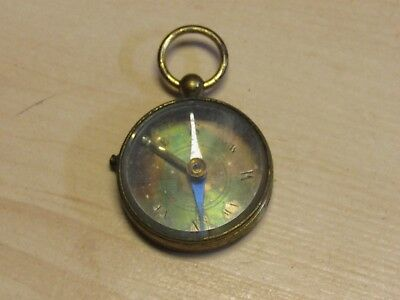 Antique Made In France Brass Compass Working With Working Locking Button Switch