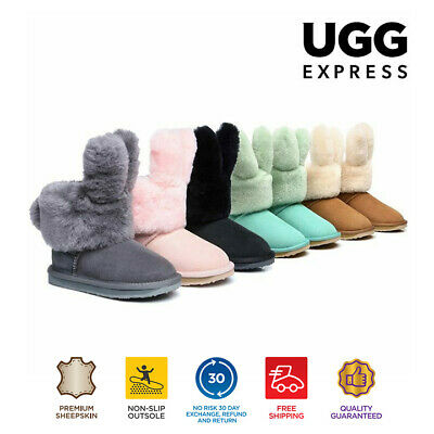 UGG kids Buddy Bunny Boots Australian double Face Sheepskin Non Slip Rubber Sole