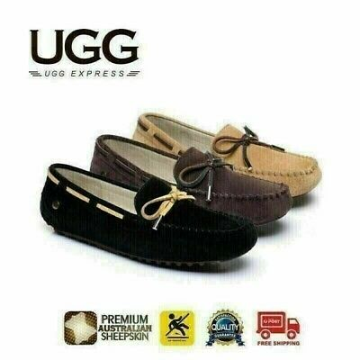 UGG Mens Summer Lace Moccasins Loafer, cow suede rubber sole,indoor/outdoor flat