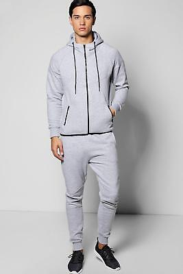 NEW Boohoo Mens Skinny Fit Panel Hooded Tracksuit in Grey size Xl