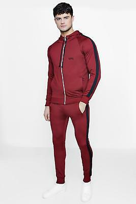 NEW Boohoo Mens Skinny Fit Man Tracksuit With Side Panels in Polyester
