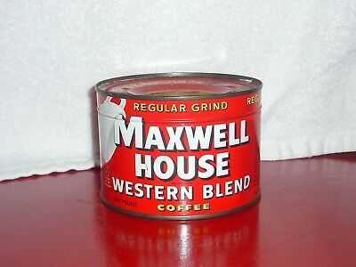 """Vintage UNOPENED/FULL Maxwell House """"Western Blend"""" One Pound Coffee Tin; VG"""