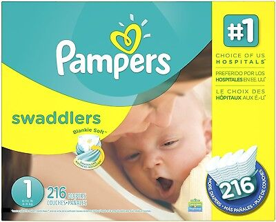 Pampers Swaddlers Disposable Diapers Newborn Size 1 (8-14 lb), 216 Count, ECONOM