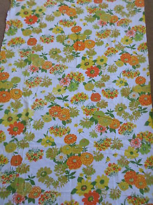 Retro Vintage Orange Yellow Green And White Floral Flannel Fabric...