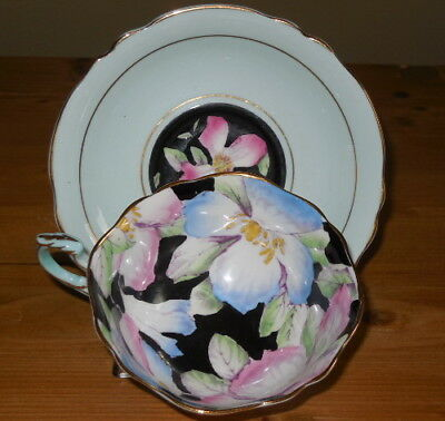 Paragon Double Warrant Apple Blossom Hand Painted Aqua Cup Saucer By Appointment