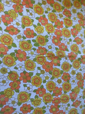 Retro Vintage Orange Yellow And White Floral Flannel Cotton Sheet  Fabric...