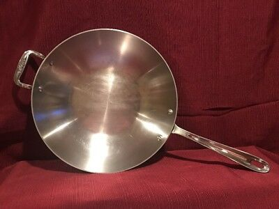 "All Clad ~~ Stainless Steel 12"" Inch Chef's Pan ~ wok Stir Fry ~~~?~~~ no lid"