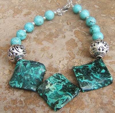 German Silver Ornate Big Teal Emerald Gemstone Turquoise Necklace Artisan Piece