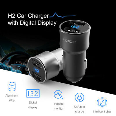 Car Charger LED Digital Display Dual USB 5V 3.4A For iPhone Android Samsung